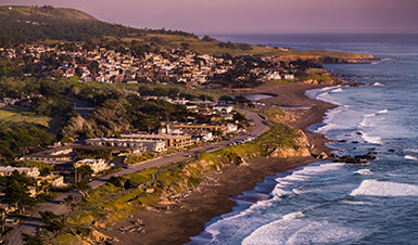 aerial photo of a coastal San Luis Obispo County town
