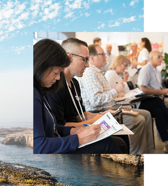 A group of people taking notes during a presentation overlayed on top of a photo of Montana de Oro State Park