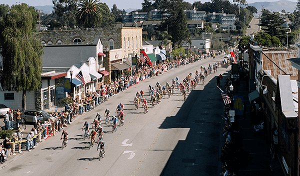 cyclists riding through arroyo grande
