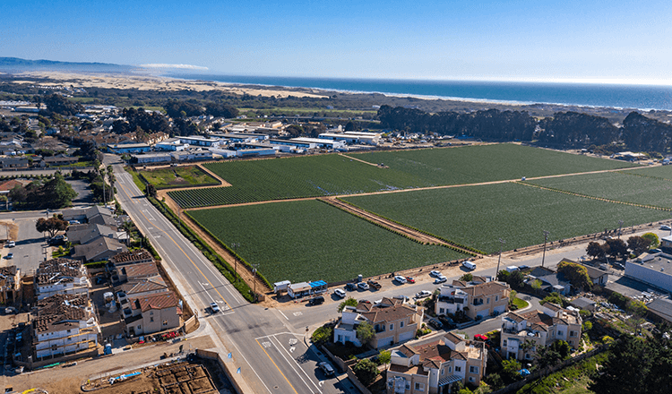 Fields and neighborhoods stretching out to the beach in Grover Beach