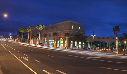 Buildings at night in Grover Beach