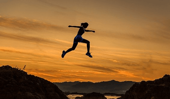 A woman leaping