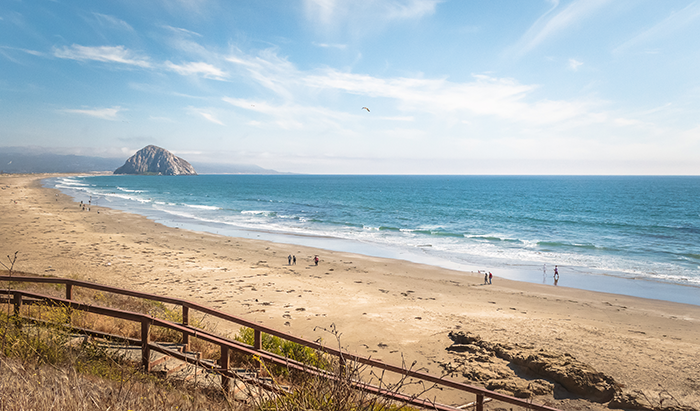 the beach in Morro Bay with Morro Rock in background