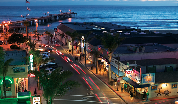 aerial view of downtown pismo at night