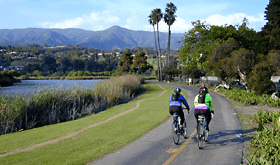 A couple cycling in Santa Barbara County