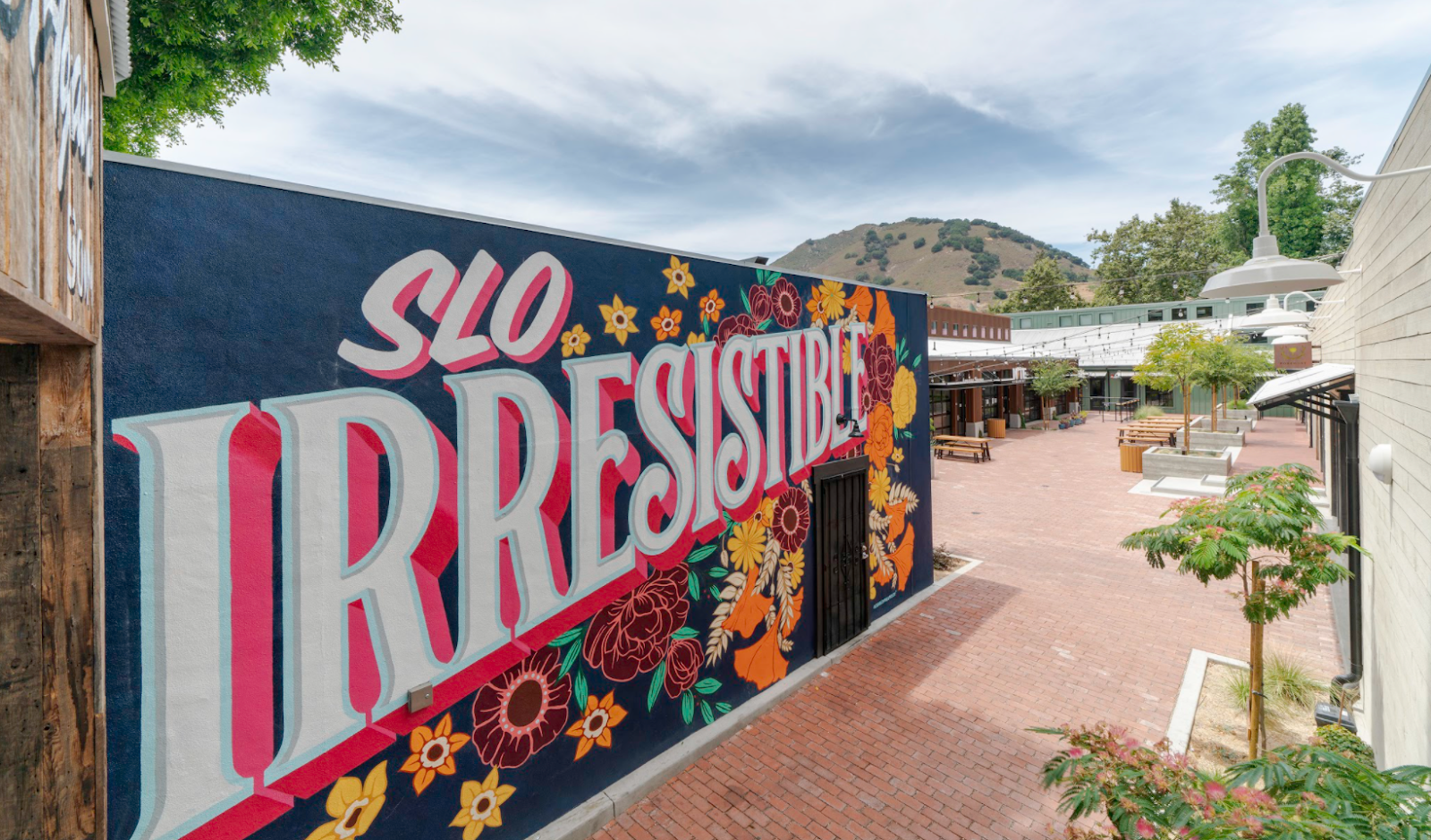 a mural with the words SLO irresistable