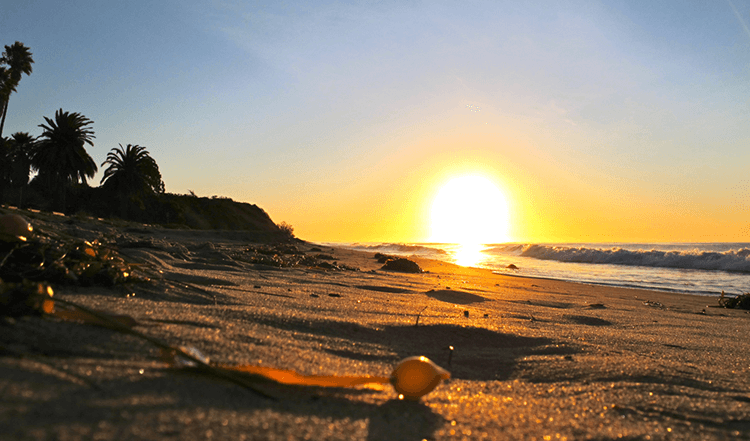 Sun rises over the beach in Santa Barbara County
