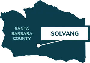 map showing location of solvang